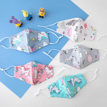 Kids Face Bandanas with Cute Animal Cartoon Patterns Print, Adjustable Washable Reusable for Kids (5Pcs+10Filters)