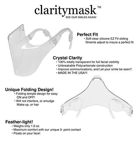 5 Pcs Clarity Mask Face Shield | Combine Comfort & Safety | Polycarbonate Plastic Reusable Clear Face Mask | Anti Fog and Durable