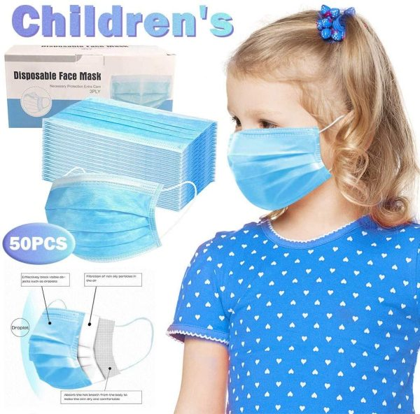 50 PcsKids Disposable Face Masks Breathable & Comfortable Mouth Cover, 3 Ply Safety Masks