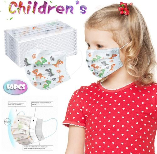 50 Pcs Cute Kids Disposable Masks, Children's 3 Ply Protective Earloop Disposable Face Masks with Dinosaur Print