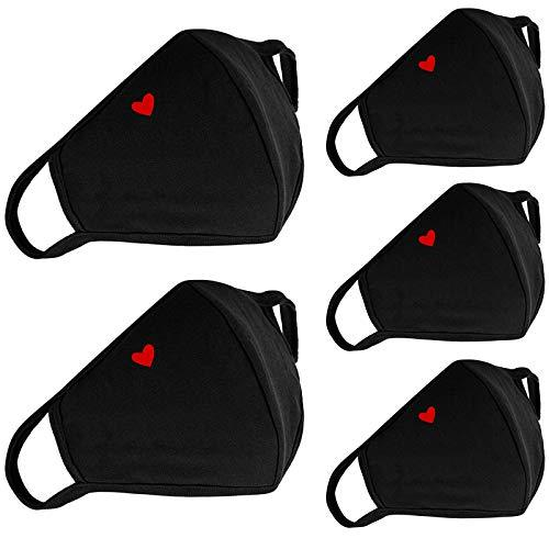 5-Pack Cute Heart Face Protection Cotton - With Nose Bridge Wire - Breathable Adjustable Reusable and Washable