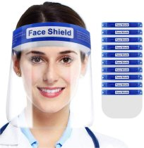 5 Pack Face Shield, Protection for Face and Eyes with Clear Anti-Fog Lens, Lightweight Transparent Shield with Stretchy Elastic Band