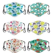 Kids Cute Cartoon Face Bandanas Reusable Cloth Face Dust Protection with Adjustable Ear Loops(6Pcs+12Filters)