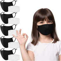 5 Pack Kids Reusable, Washable Black Facial Cotton Covering Children Face Mask Includes 10 Pcs Filters