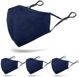 4 Pcs Unisex Washable Reusable Adjustable Protective 3 Layers Cotton Face Madks (Navy Blue/Light Blue/Navy Grey/Light Grey)