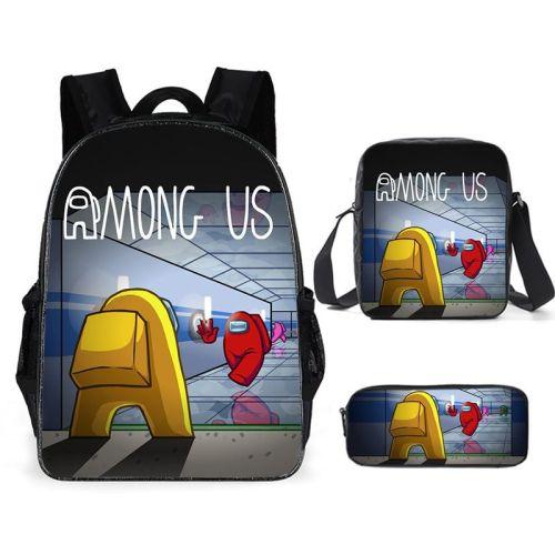 Among US 3-D Backpack Set 3PCS Backpack Lunch Box and Pencil Bag Shcool Bookbag Set