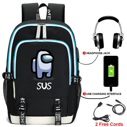Among US Kids Youth Backpack With USB Charging Port Stundents Bookbag