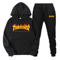 Thrasher Red Flame Print Sweatsuit 2 Pieces Sweatshirt and Sweatpants Set