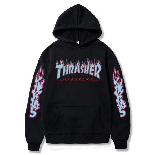 Thrasher Trendy Flame Hoodie Unisex Classic Flame Print Fashion Sweatshirt