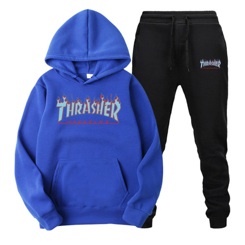 Adults Fashion Thrasher Hoodie and Jogger Pants Set Fashion Unisex Sweatsuit