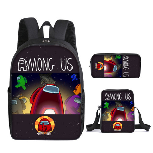 Amongs US Stundents Boys Girls Backpack Set 3-D Backpack Lunch Box and Pencil Bag Set