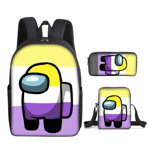 Amongs US Fashion Stundents Boys Girls Backpack Set 3-D Backpack Lunch Box and Pencil Bag Set