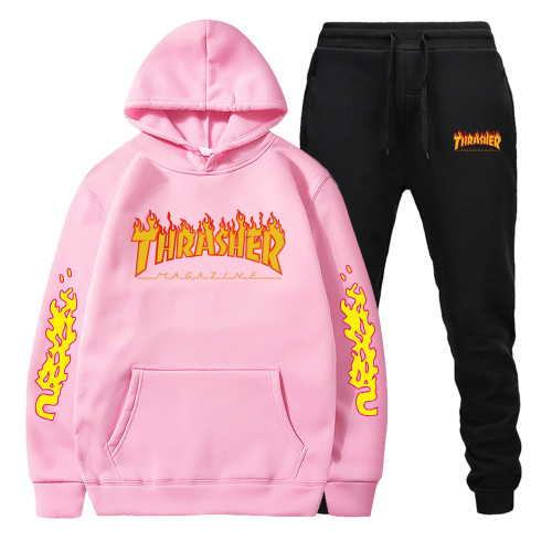 Adults Thrasher Fashion Casual Hoodie and Jogger Pants Set Fashion Unisex Sweatsuit