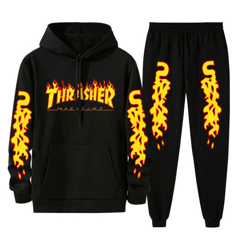 Thrasher Popular Sweatsuit 2 Pieces Sweatshirt and Sweatpants Set