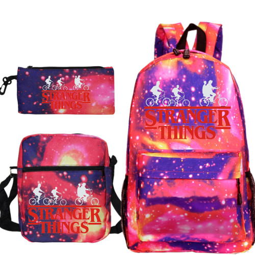 Stranger Things Youth Kids School Backpack Book Bag With Lunch Box Bag and Pencil Bag 3 Piece Set