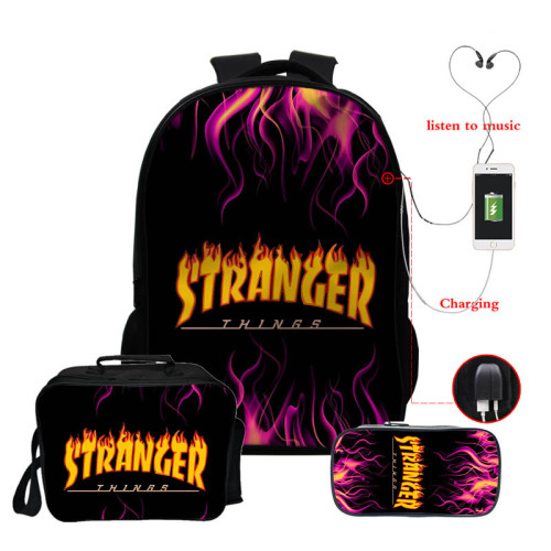 Stranger Things Fashion 3 Pieces Set School Backpack Lunch Bag and Pencil Bag