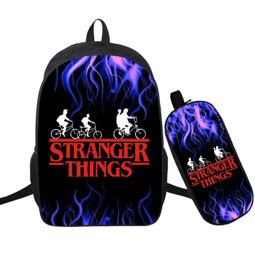 Stranger Things Fashion Backpack 2 Pieces Set School Backpack and Pencil Bag