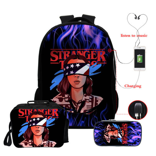 Stranger Things Backpack 3 Pieces Set School Backpack Lunch Bag and Pencil Bag