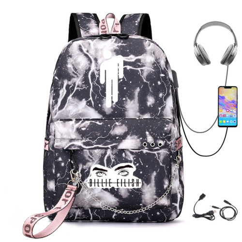 Billie Eilish Students Backpack With USB Charging Port Book Bag