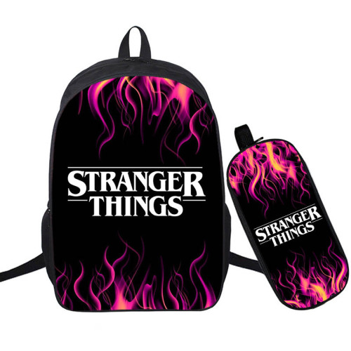 Stranger Things 3-D Print Backpack 2 Pieces Set School Backpack and Pencil Bag
