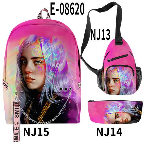 Billie Eilish Students Backpack With Sling Bag and Pencil Bag 3 Piece Set