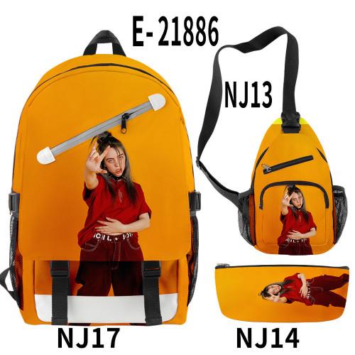 Billie Eilish Fashion School Backpack Book Bag With Sling Bag and Pencil Bag 3 Piece Set