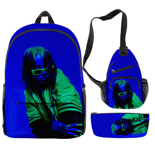 Billie Eilish Trendy Casual Students Backpack  With Sling Bag and Pencil Bag 3 Piece Set