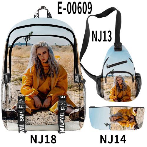 Billie Eilish Trendy Big Capacity School Backpack Book Bag With Sling Bag and Pencil Bag