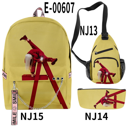 Billie Eilish Youth Kids School Backpack Book Bag With Sling Bag and Pencil Bag 3 Piece Set