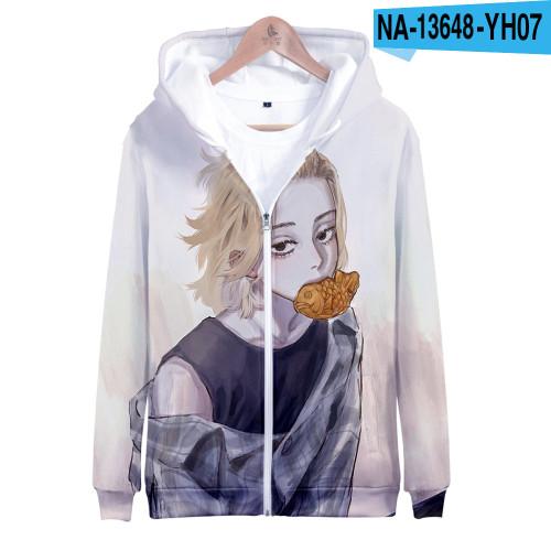 Anime Tokyo Revengers Zipper Jacket Hooded Long Sleeve Unisex Youth Zip Up Coat