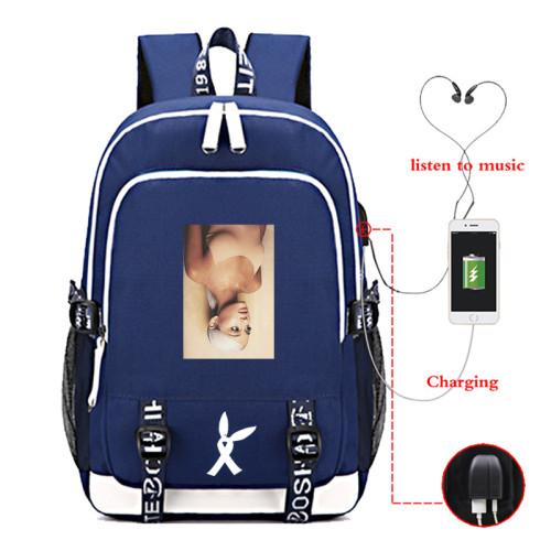 Ariana Grande School Book Bag Big Capacity Rucksack Travel Bag With USB Charging Port