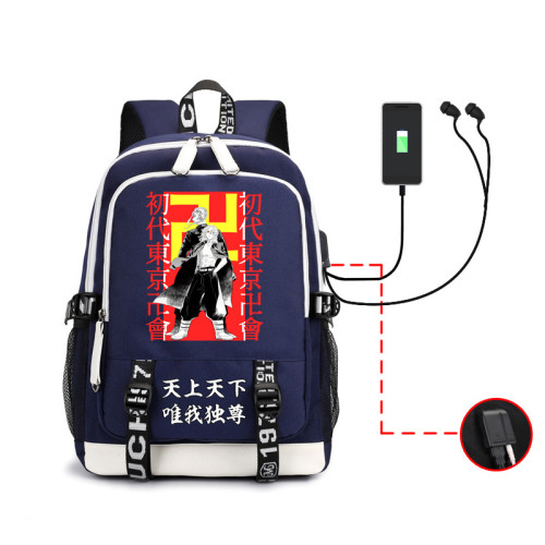 Anime Tokyo Revengers Students Backpack With USB Charging Port Unisex Youth Travel Backpack Computer Bag