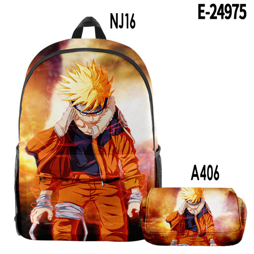 Anime Naruto Backpack 2 piece Backpack Set Students Backpack  With Pencil Bag Set