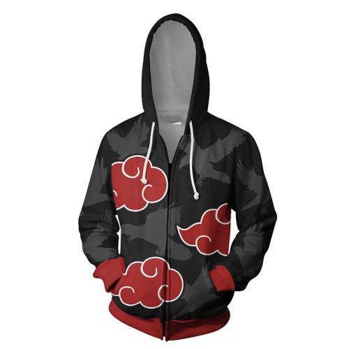 Anime Naruto Akatsuki Zipper Jacket Unisex Zip Up Hooded Pullover Coat Youth Unisex Tops