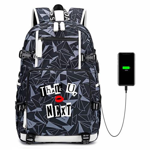 Ariana Grande Thank U Next Print School Bag Big Capacity Rucksack Travel Bag With USB Charging Port