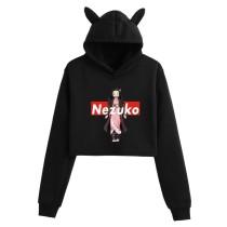 Demon Slayer Girls Popular Crop Top Hoodie Kamado Nezuko Print Sweatshirt Cat Ear Hooded Cute Crop Tops