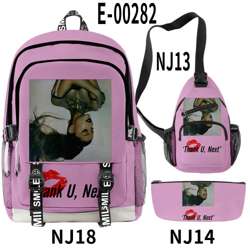 Ariana Grande Fashion 3 Pieces Set School Backpack Sling Bag and Pencil Bag