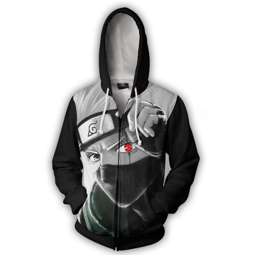 Anime Naruto 3-D Zipper Jacket Hatake Kakashi Hooded Zip Up Coat Fall Winter Cool Outfit