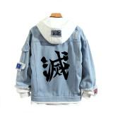 Demon Slayer Fake Two Piece Jacket Denim Casual Hip Hop Coat Youth Unisex Fall Winter Hooded Coat