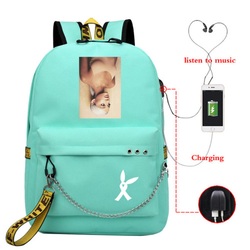 Ariana Grande School Book Bag Students Backpack Travel Bag With USB Charging Port