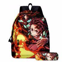 Demon Slayer 3-D Backpack Youth Unisex Cool Shcool Backpack Bookbag With Pencil Bag Set