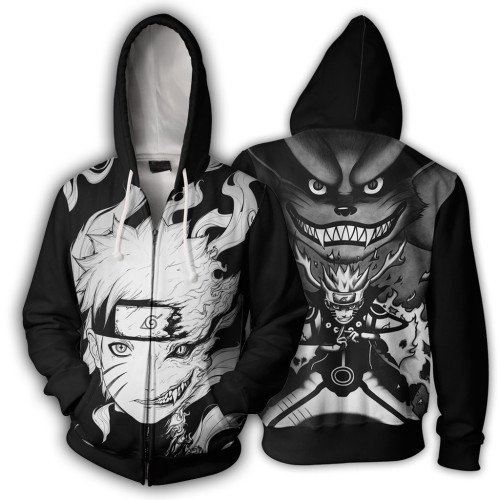 Anime Naruto 3-D Zipper Jacket Youth Adults Unisex Trendy Coat Fall Winter Zip Up Outfit