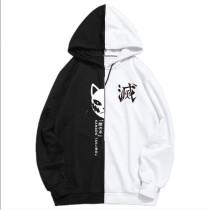 Demon Slayer Contrast Color Block Hoodie Unisex Trendy Street Style Loose Hooded Pullover Tops Long Sleeve