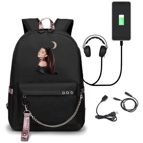 Ariana Grande Trendy Black Backpack School Students Book Bag