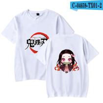 Demon Slayer Anime Merch Kamado Nezuko Cotton Tee Short Sleeve T-shirt for Youth