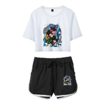 Demon Slayer Suits Girl Crop Top Tee and Shorts Set