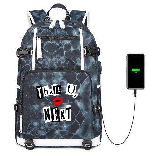 Ariana Grande Casual School Book Bag Big Capacity Rucksack Travel Bag With USB Charging Port