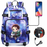 Demon Slayer Big Capacity Backpack Unsiex Ruchsack Students School Backpack Travel Backpack With USB Charging Port