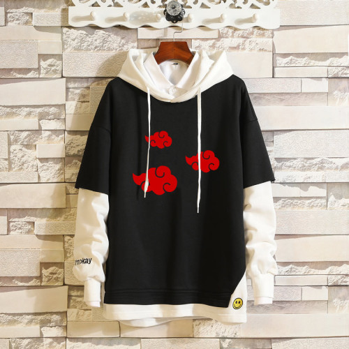 Anime Naruto Trendy Hoodie Fake Two Pieces Hooded Sweatshirt Long Sleeve Pullover Unisex Outfit