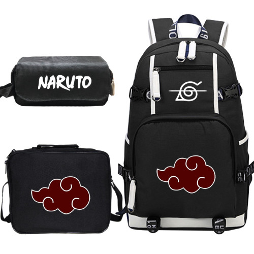 Anime Naruto Backpack Set Big Capacity Students Backpack With Lunch Bag and Pencil Bag Set 3pcs